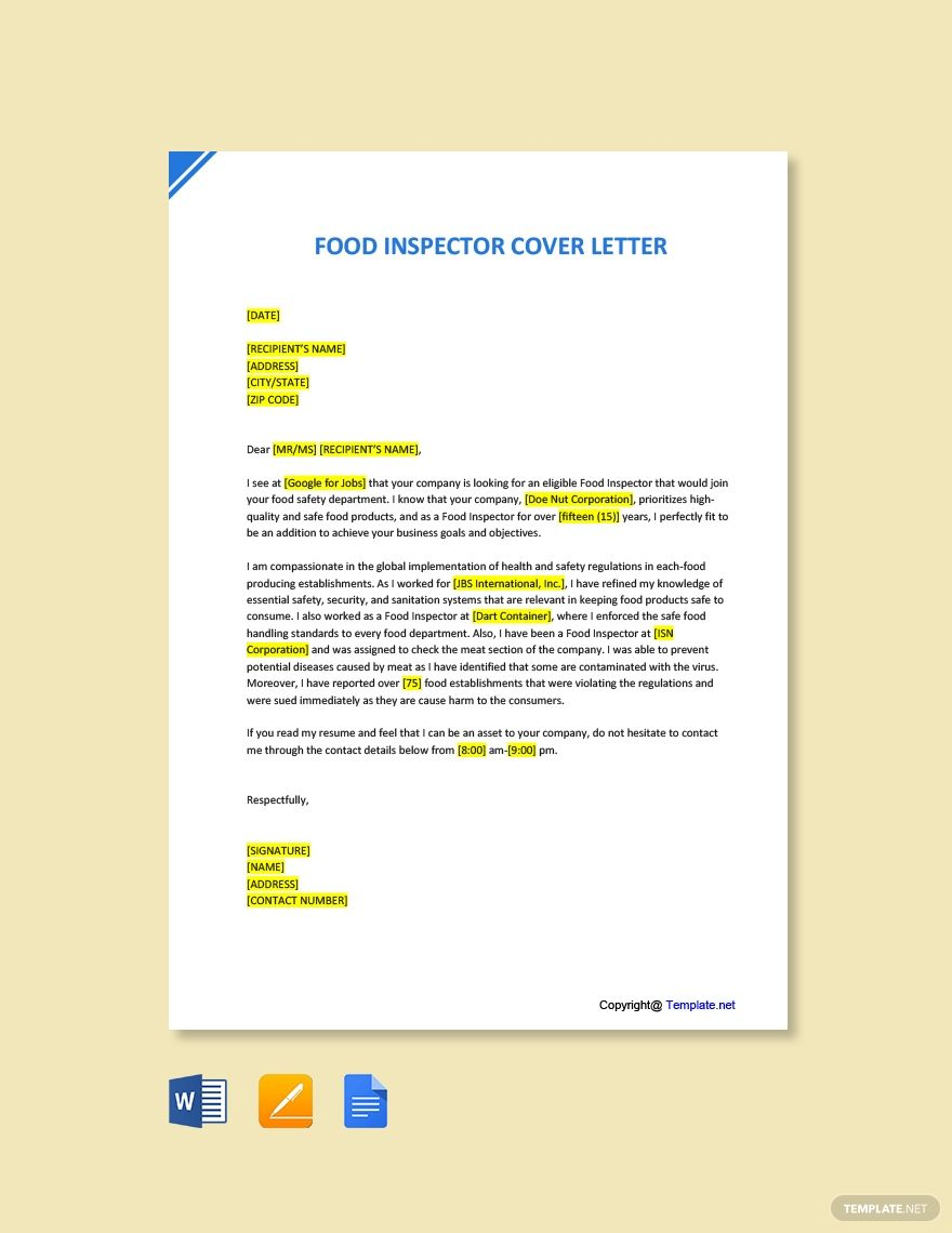Free food inspector cover letter template in 2020 cover