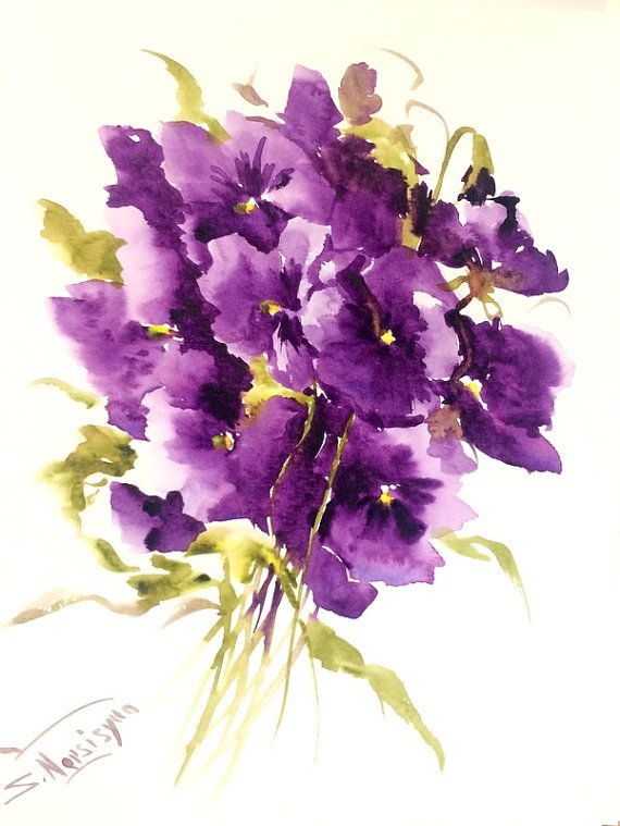 Deep Violet Pansies 12 X 9 In Original Watercolor Painting