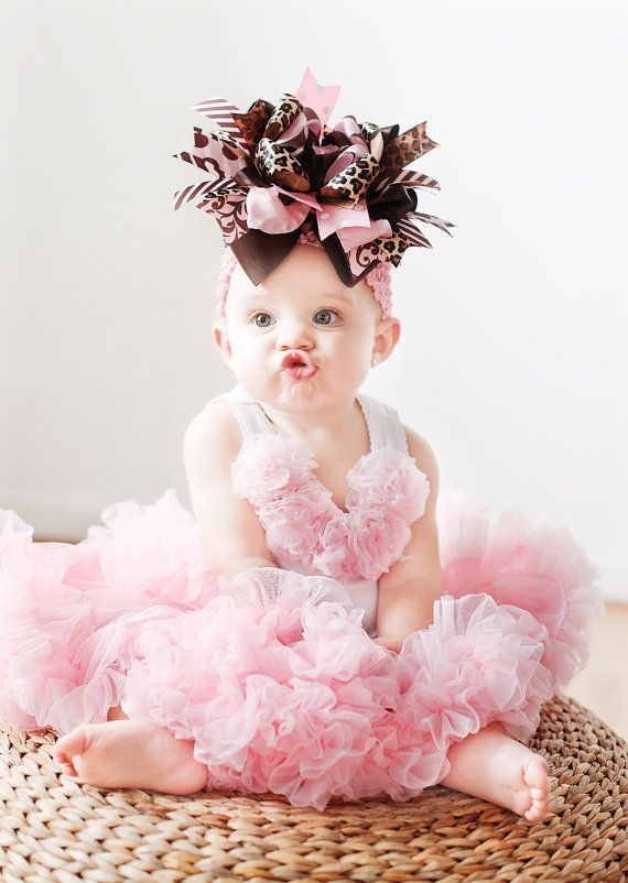 Pink and Brown Over the Top Boutique BOW by glam R baby シ www ...