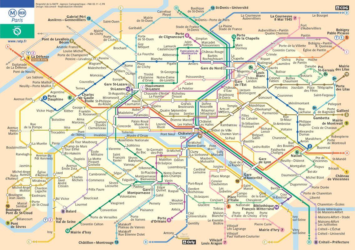 Big Map Of Paris UndergroundSubwayMetro Stations Favorite Places - Paris metro station map