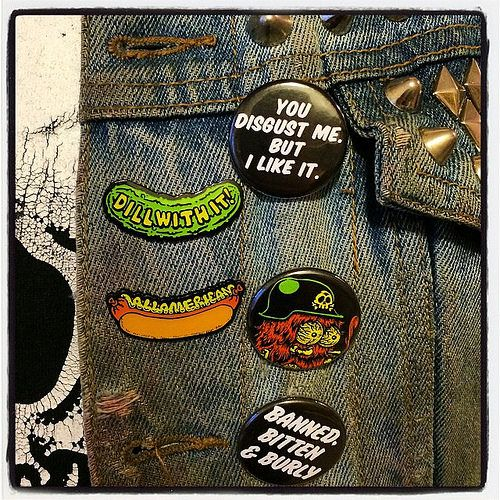 A little slice of @porkmagazine's look today. Buttons, enamel pins, studs, shirt from the PORK SHOP! #blitzkriegbuttons #enamelpins #dillwithit #allamerican #studs #denim #porkshop #donttellyourmother | Flickr - Photo Sharing!
