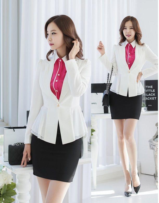 Dise o de uniforme de oficina para mujer blazer trajes for Disenos de faldas