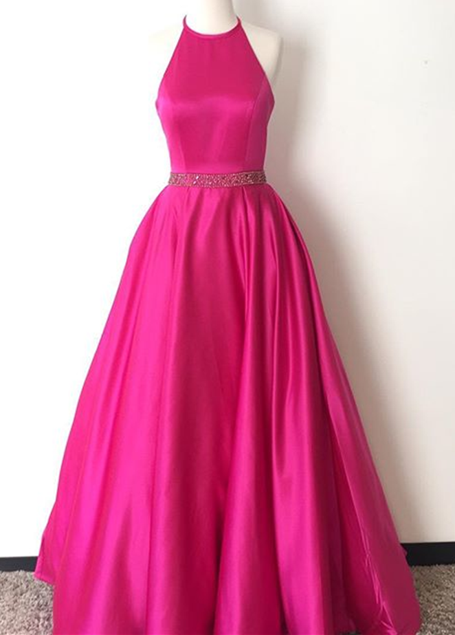 Prom Dress,Halter Prom Dress,Hot Pink Satin Evening | 2017 Evening ...