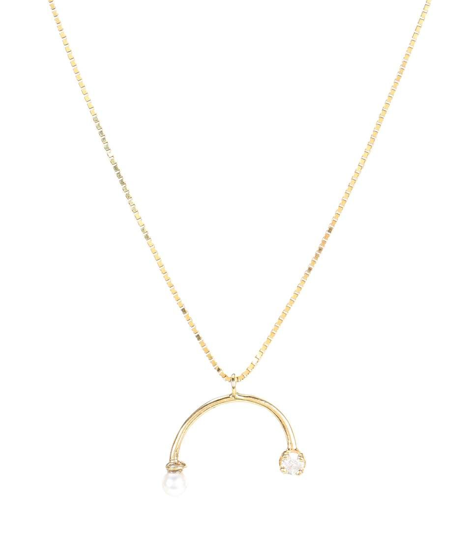 Wasson Dainty Chain 14kt gold and sapphire necklace Qr6l2SdKDw