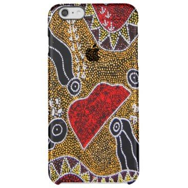 """Title : 22 Australian Aboriginal Art Print Clear iPhone 6 Plus Case  Description : I have placed my Australian, Aboriginal designs in a NEW Category. They are full of Bright, Bold, Colorful, Abstract-Patterns, Animal-Motifs, To help you in your search for similar products use such key words as: Specific Color, """"Tribal-Art"""", Outback Themes, Aboriginal Art and Illustrations. If you want to add Color to Any Home and/or Fashions, consider the hot designs of """"Down-Under""""!  Product Description…"""