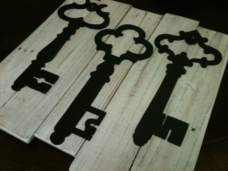 White Washed Vintage Inspired Skeleton Key Wall Decor - Upcycled Reclaimed  Wood Planks - Pottery Barn