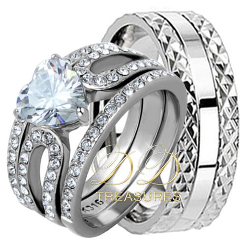 His & Hers 4 Pcs TITANIUM Mens & STAINLESS STEEL Womens Wedding Band Ring Set CZ . Starting at $15