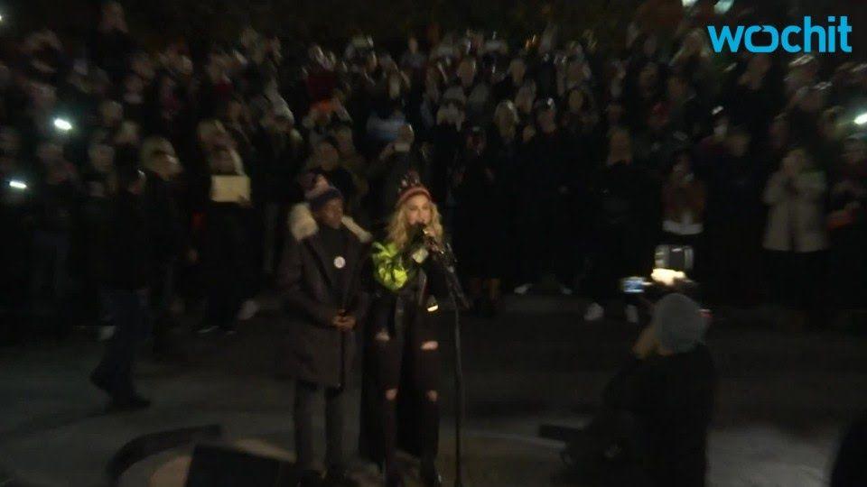 Madonna Plays Surprise Concert In Park For Clinton