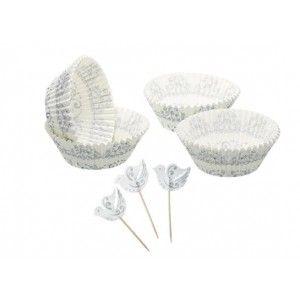 Cápsulas para Cupcakes Modelo plata + 24 Toppers. Presentado en caja 7,40€