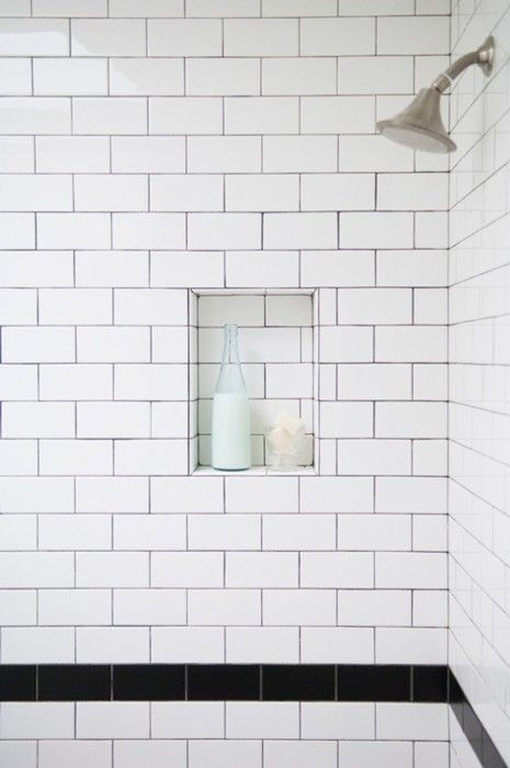 Shower Subway Tile white subway tile with black trim in shower stall | vintage