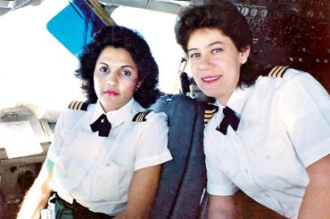 March 1, 1990 - A300 First Officer Maria Ziadie- Haddad (left) and Second Officer Marlene Smith on the first flight of two female pilots at Air Jamaica.  Read more: http://www.jamaicaobserver.com/lifestyles/Female-Pilots#ixzz2jUv58Kan