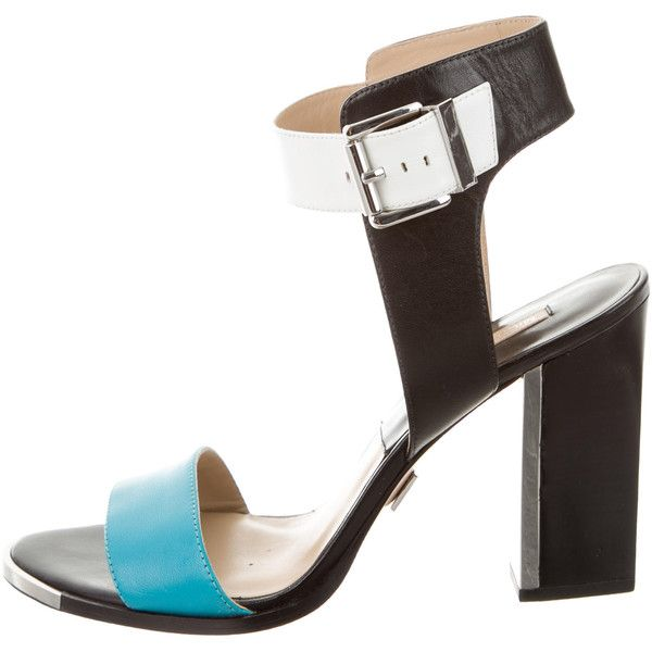 Pre-owned Michael Kors Leather Ankle Strap Sandals (1.950 ARS) ❤ liked on Polyvore featuring shoes, sandals, black, ankle strap sandals, leather shoes, black leather shoes, block heel sandals and leather sandals