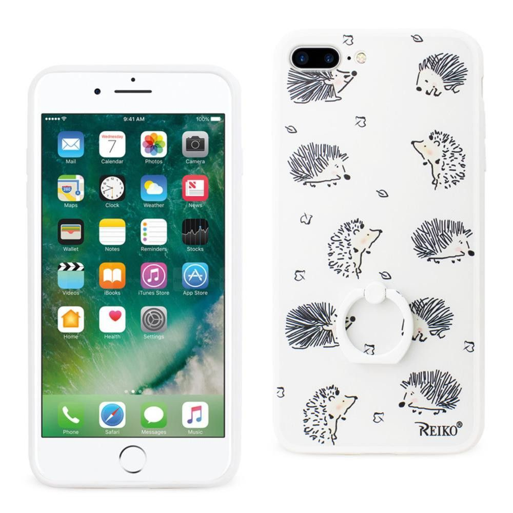 Reiko REIKO IPHONE 7 PLUS HEDGEHOG PATTERN TPU CASE WITH ROTATING RING STAND HOLDER WHITE
