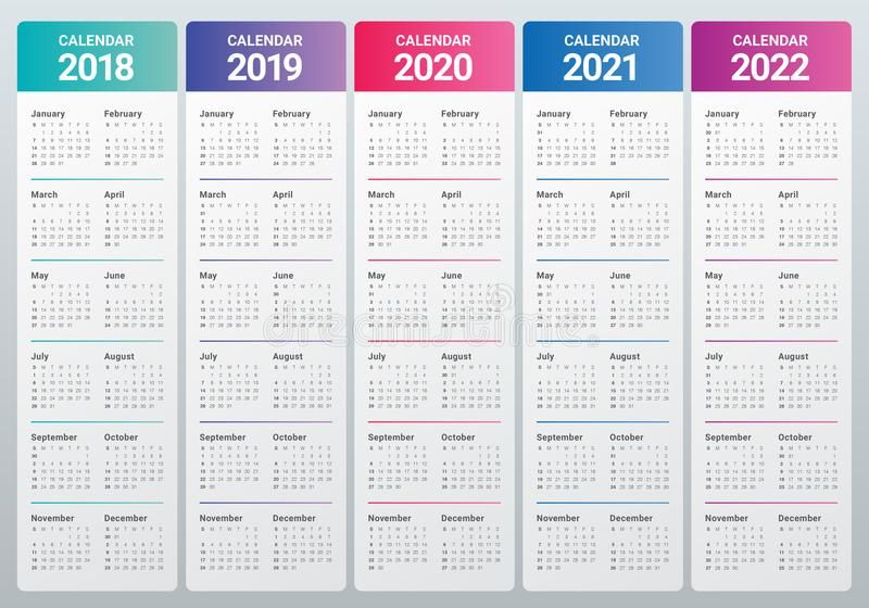 Year 2018 2019 2020 2021 2022 Calendar Vector Design Template Simple And Clean Sponsored Calendar Template Calendar Printables Monthly Calendar Printable