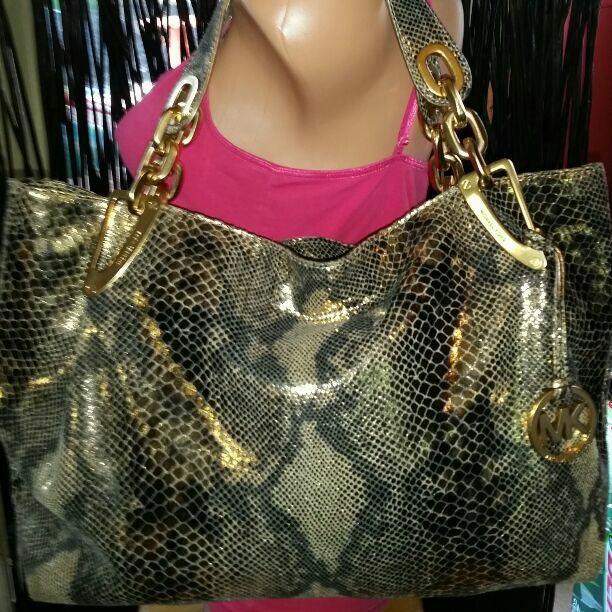 46f89bd526ff46 RARE*RARE*RARE HUGE 100% Authentic Michael Kors Python Leather Satchel  Style: AP-1008 Original: $558 + tax Material: Leather / Gold Zip Top  Closure Gold ...