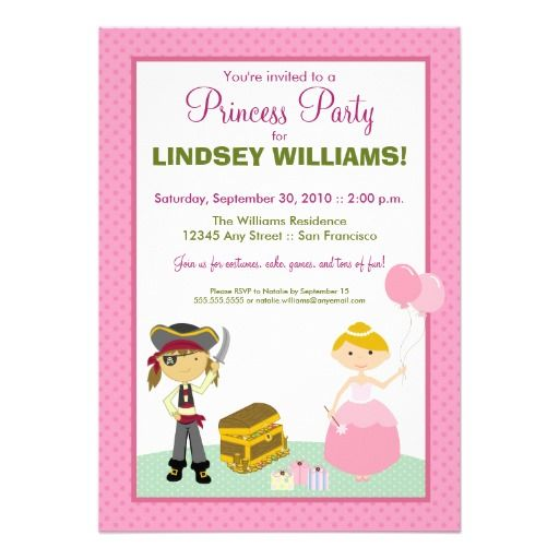 Charming princess pirate party invitation filmwisefo Choice Image