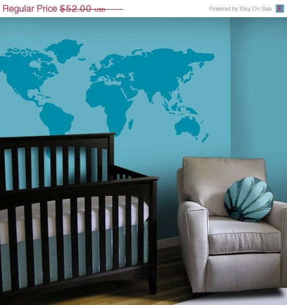 Sale large world map nursery wall decal 7 feet wide world map baby nursery wall decal large world map nursery wall decal 7 feet wide world map decal nursery wall map via etsy gumiabroncs Image collections