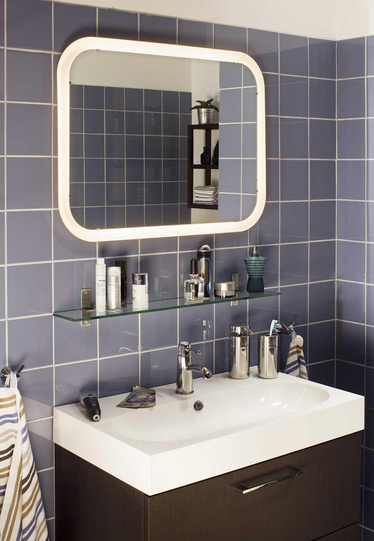 Storjorm spiegel m ge ntegreerde verlichting wit toilet bath room and bath - Ikea appliques verlichting ...