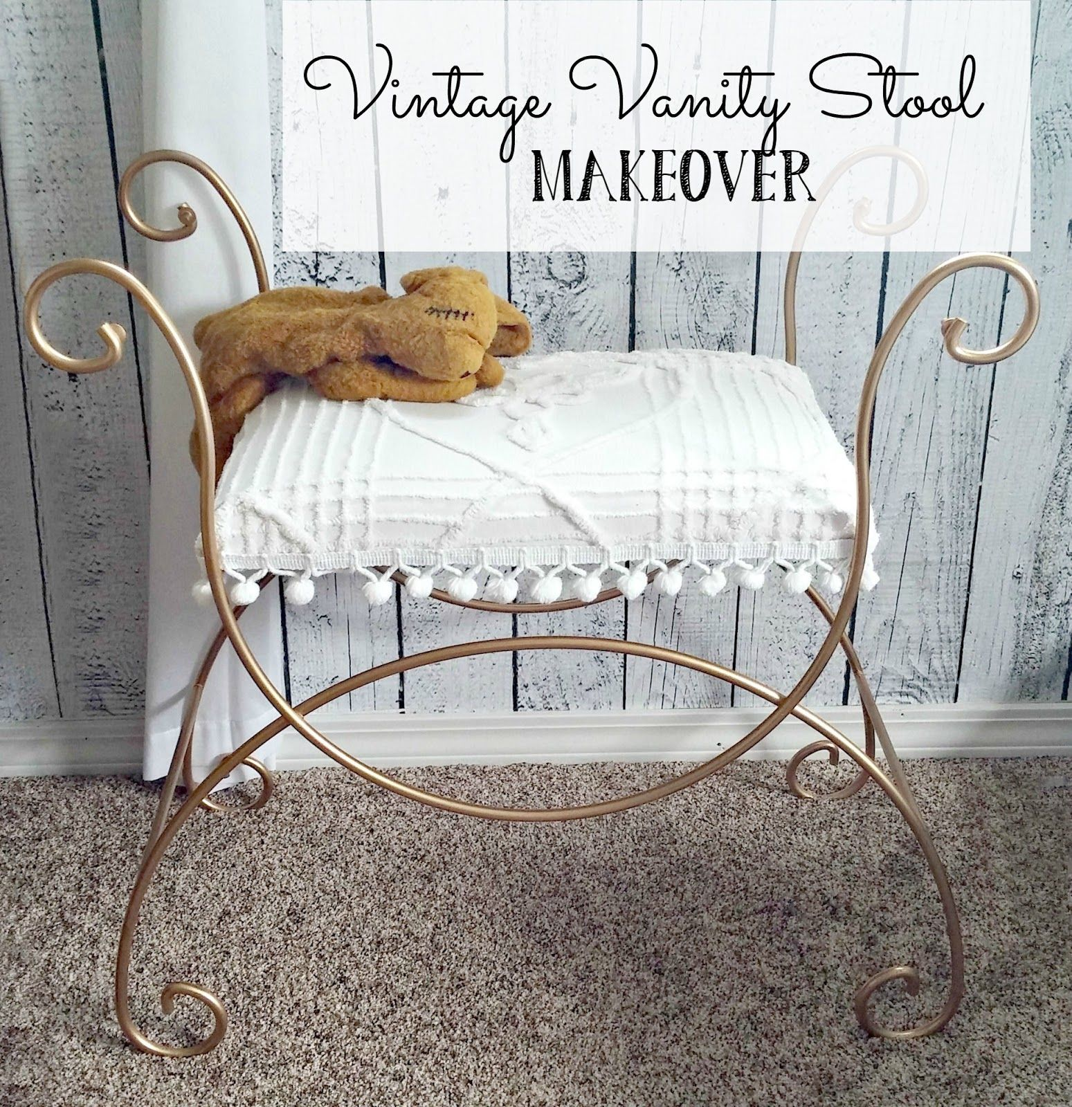 Vintage Vanity Stool Makeover Vanity Stool Bathroom Vanity Chair Stool Makeover