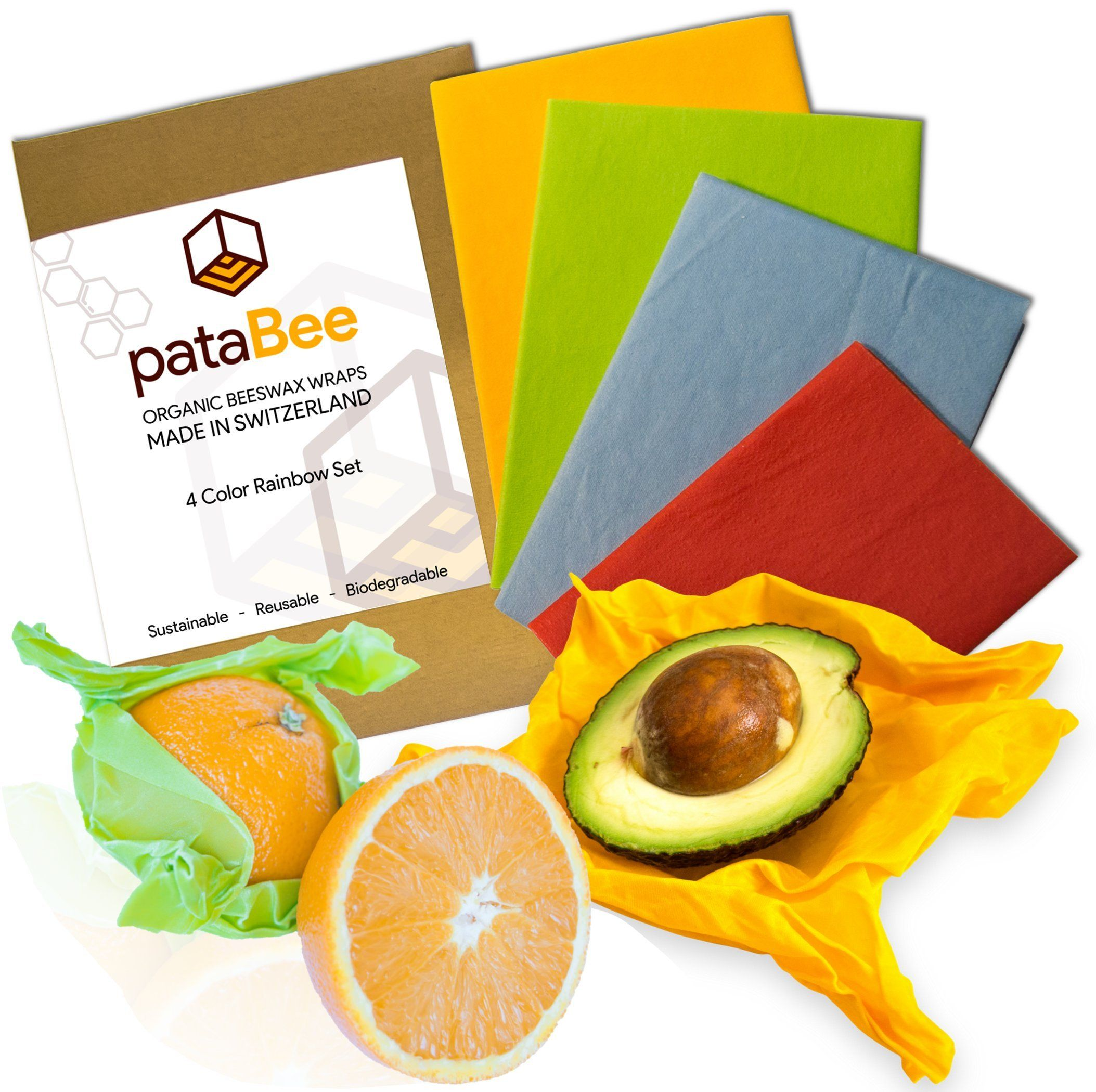 Organic Reusable Food Wraps by Etee - Biodegradable, Non