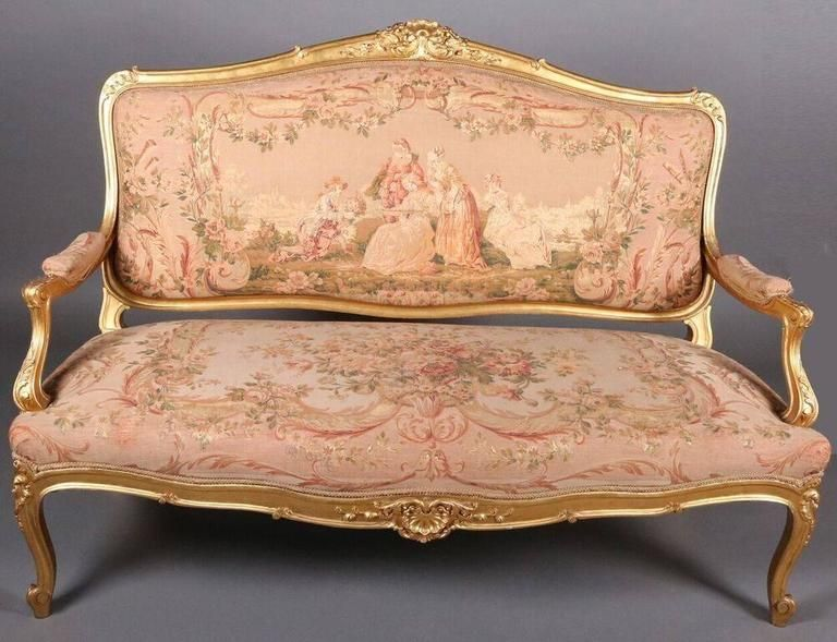 French Louis XIV Style Original Tapestry Gold Gilt Parlor ...