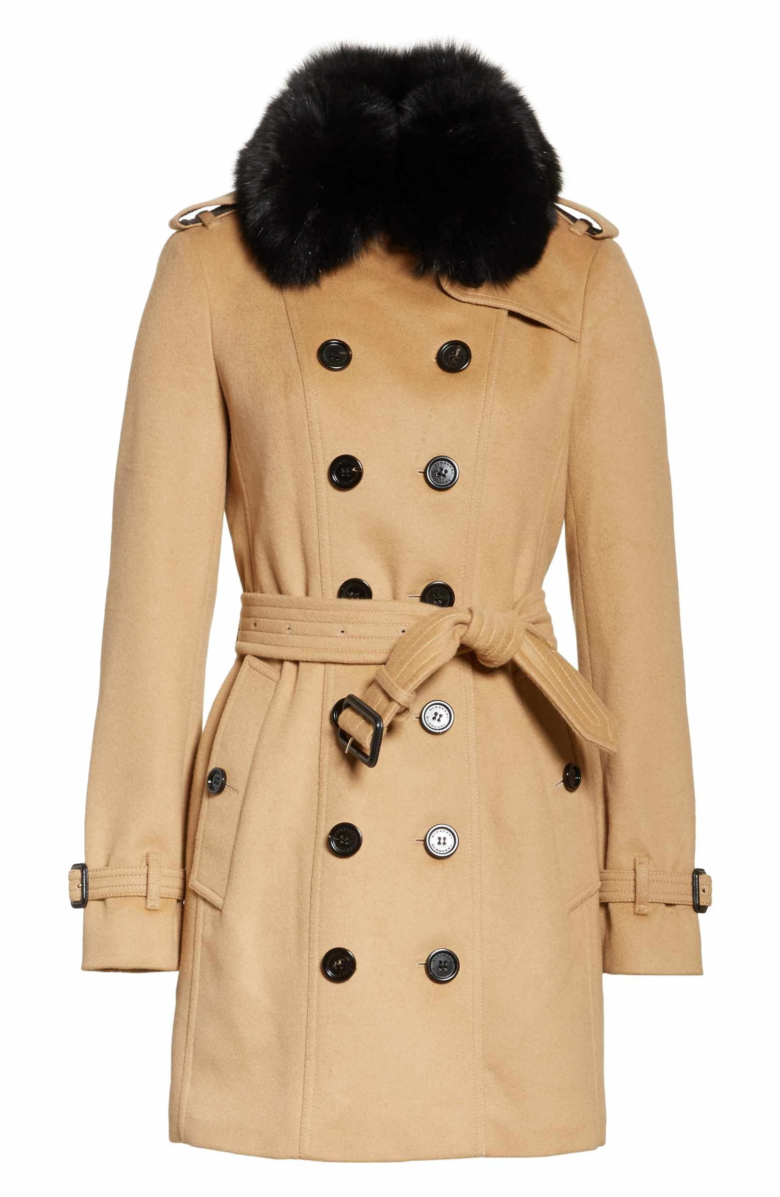 4545e0df4e8c57 Main Image - Burberry Sandringham Wool & Cashmere Trench Coat with Removable  Genuine Fox Fur Collar