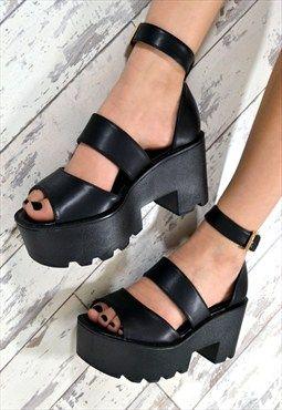 ca4c15a125dda HOKU Chunky Heel Triple Strap Summer Sandals in BLACK | Shoes. in ...