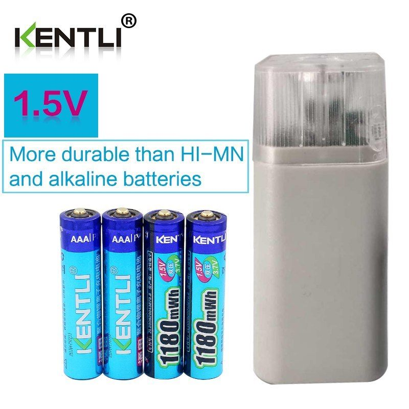 Kentli 4pcs 1 5v 1180mwh Aaa Rechargeable Polymer Lithium Battery 4 Slots Aa Aaa Lithium Battery Charger W Lithium Battery Charger Lithium Battery Flashlight