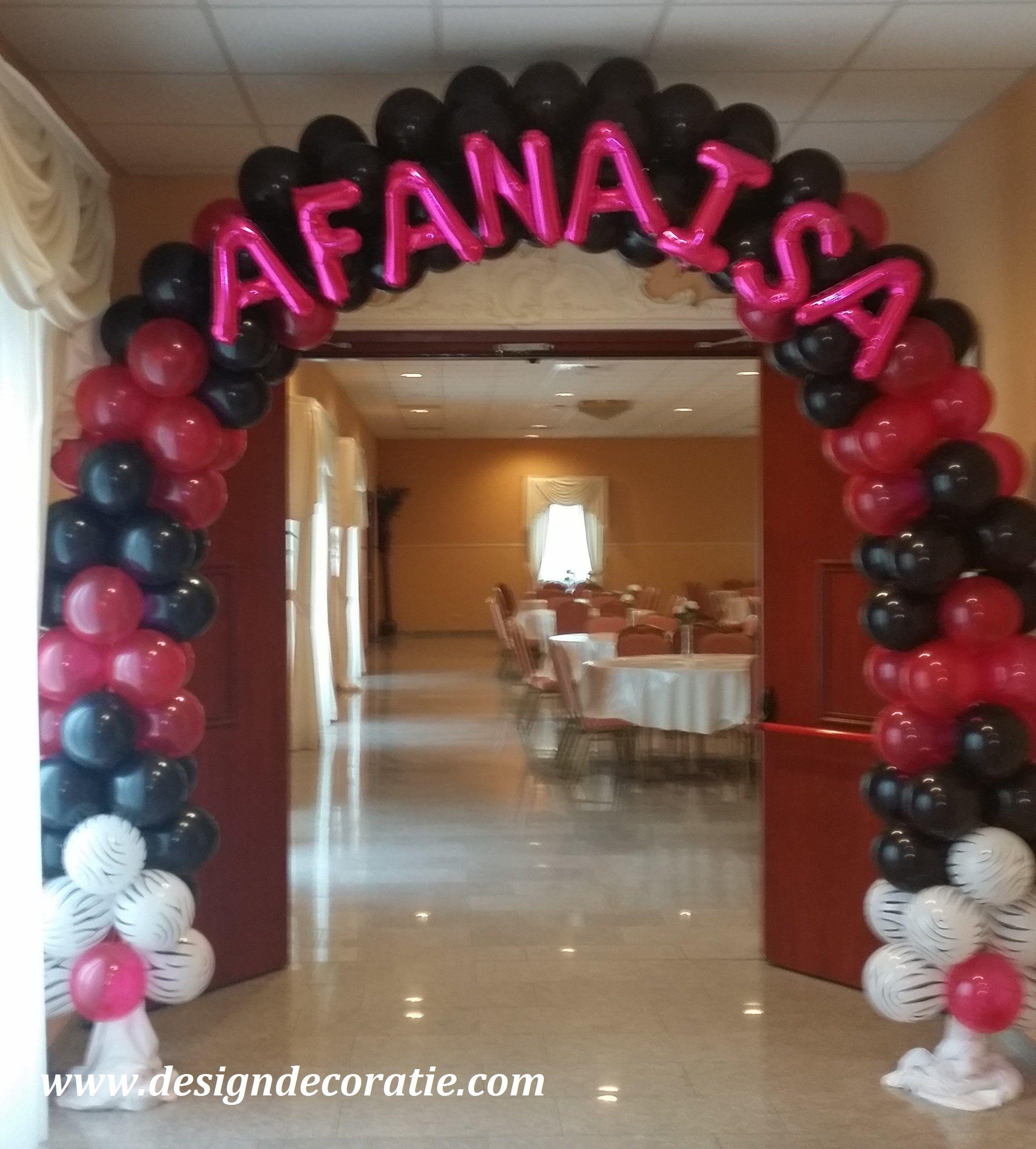 Ballonnenboog balloon arch with name no helium balloon for Balloon decoration ideas for sweet 16