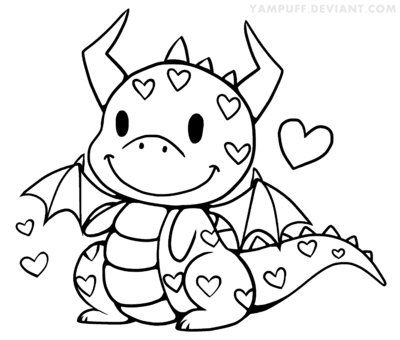 Lil Love Dragon Lineart By Yampuff Deviantart Com On Deviantart Dragon Coloring Page Coloring Pages Coloring Books