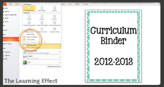 technology tutorial making binder covers spines classroom set