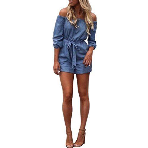 8b6f1903db41 GBSELL Fashion Women Summer Off Shoulder Mini Denim Jumpsuit Piece Pants