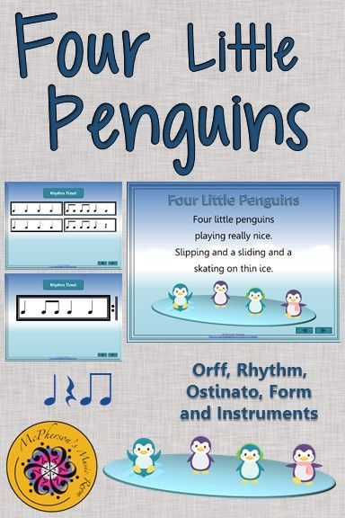 Winter Music Lesson  Four Little Penguins Orff Rhythm