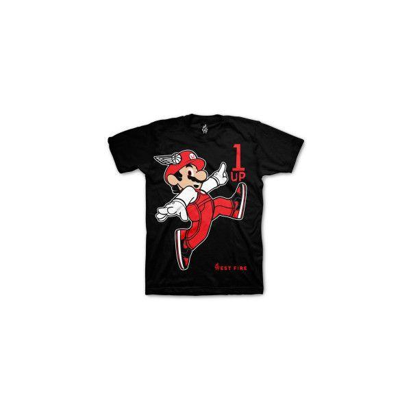 Jordan 1 Bred Shirt 1up Mario Black ❤ liked on Polyvore featuring shirts