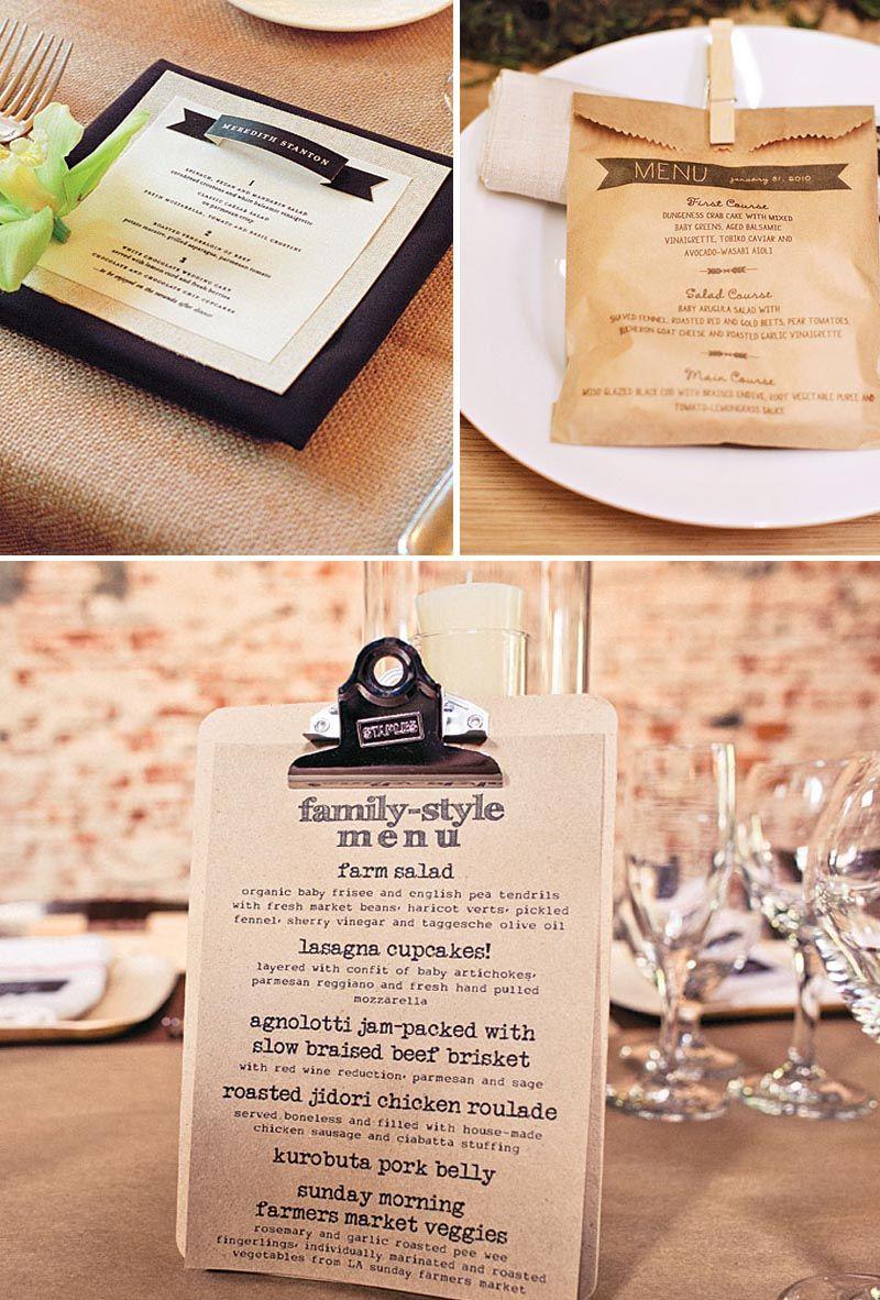 creative wedding menus