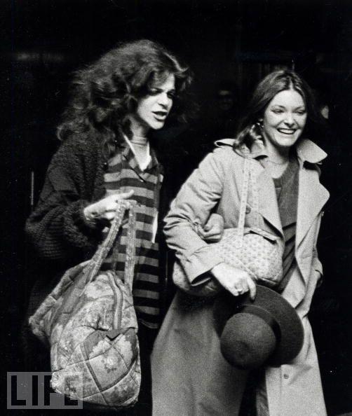 Gilda Radner and Jane Curtin leaving SNL practice.