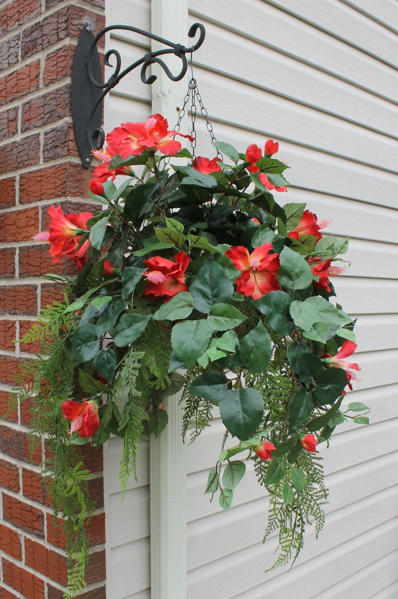 Silk Hanging Plant Red Hibiscus With Fern By Silkelegancefls On Etsy