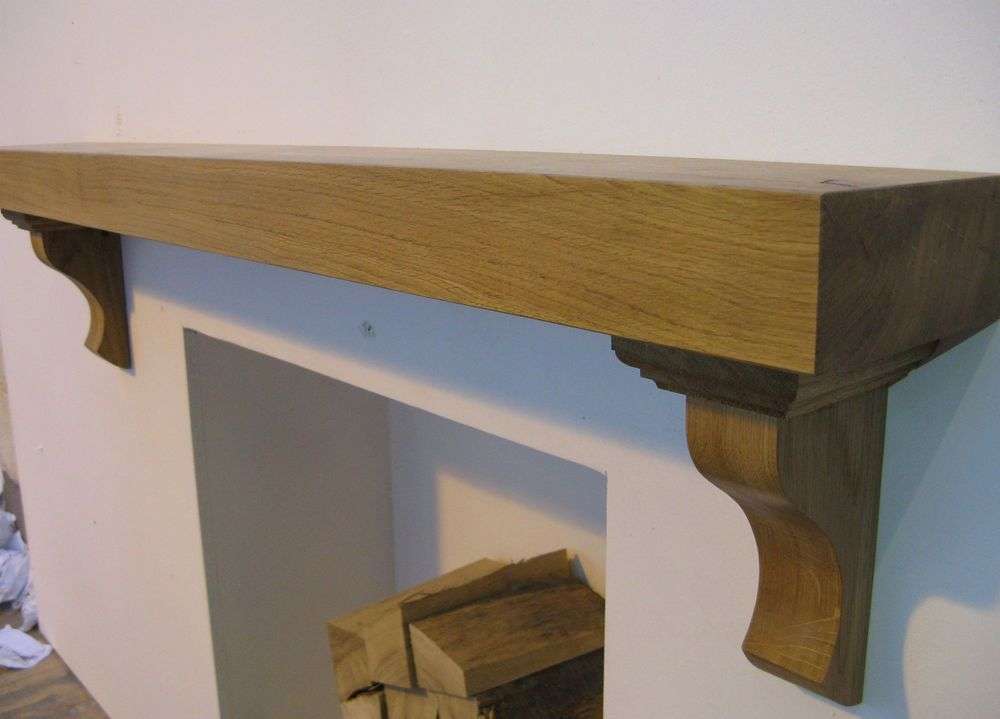 Details about Oak mantle piece floating AGA shelf fire surround ...