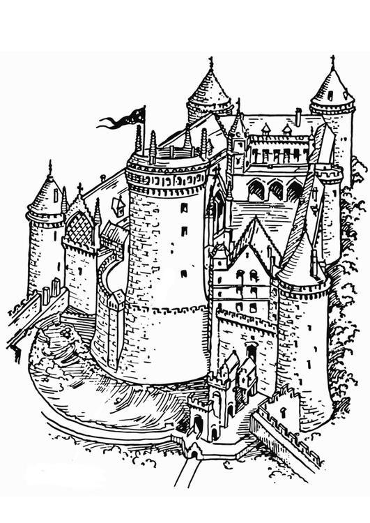 Castle Coloring Page Edupics Ausmalbilder Ausmalen Malvorlagen