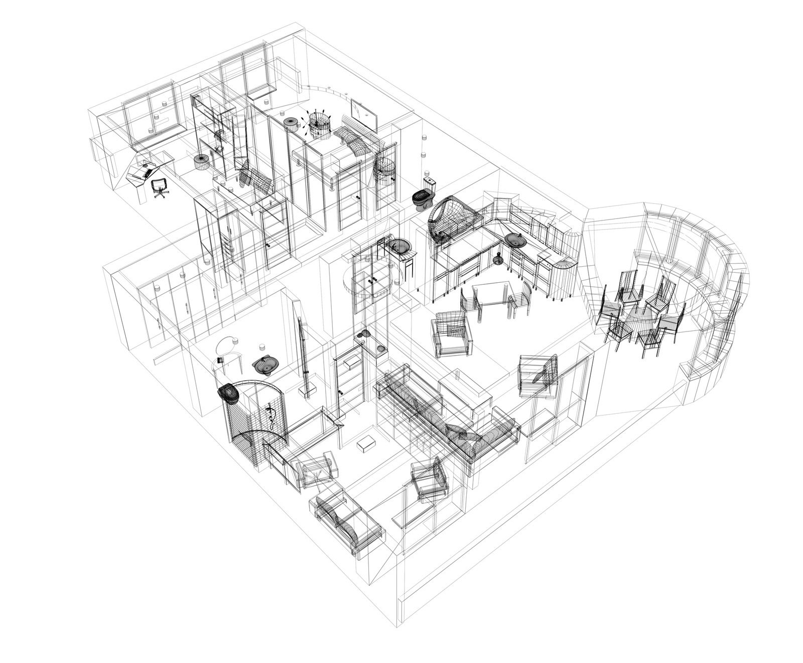 Good 3D Building Scheme and Floor Plans Ideas for House and Office