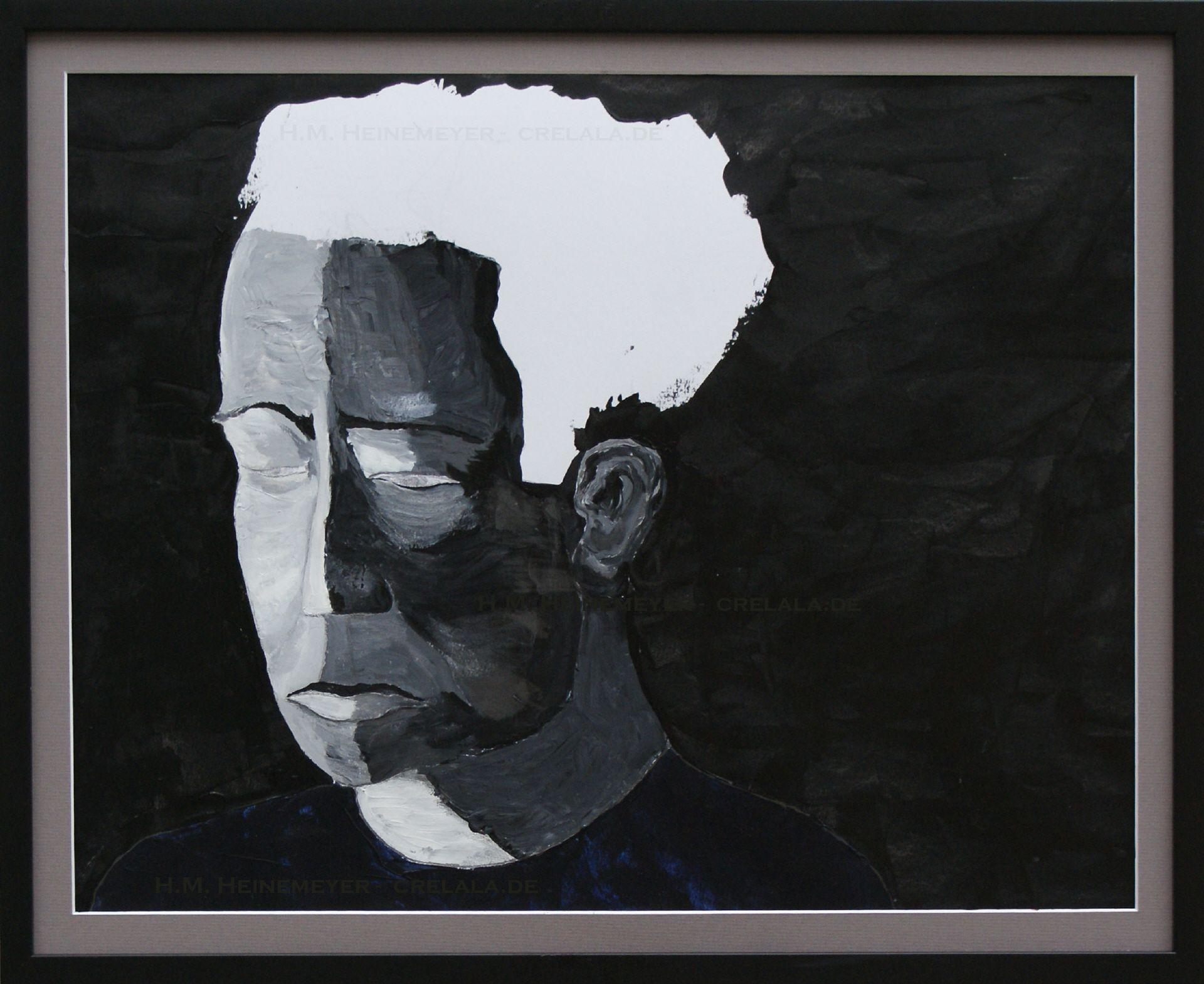 Kopf schwarz-weiss » H.M. Heinemeyer » Gemälde » Acrylbild   CRELALA Kunst