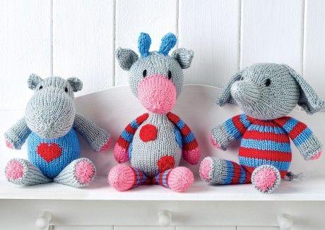 Snuggle Buddies Toy Trio Free Knitting Patterns Animals