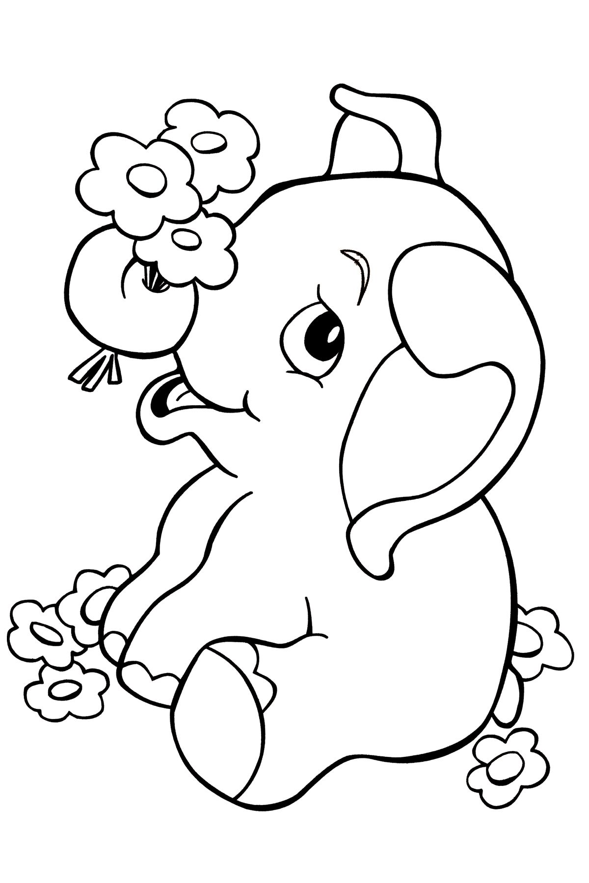 Beautiful Elephant In The Jungle Coloring Pages
