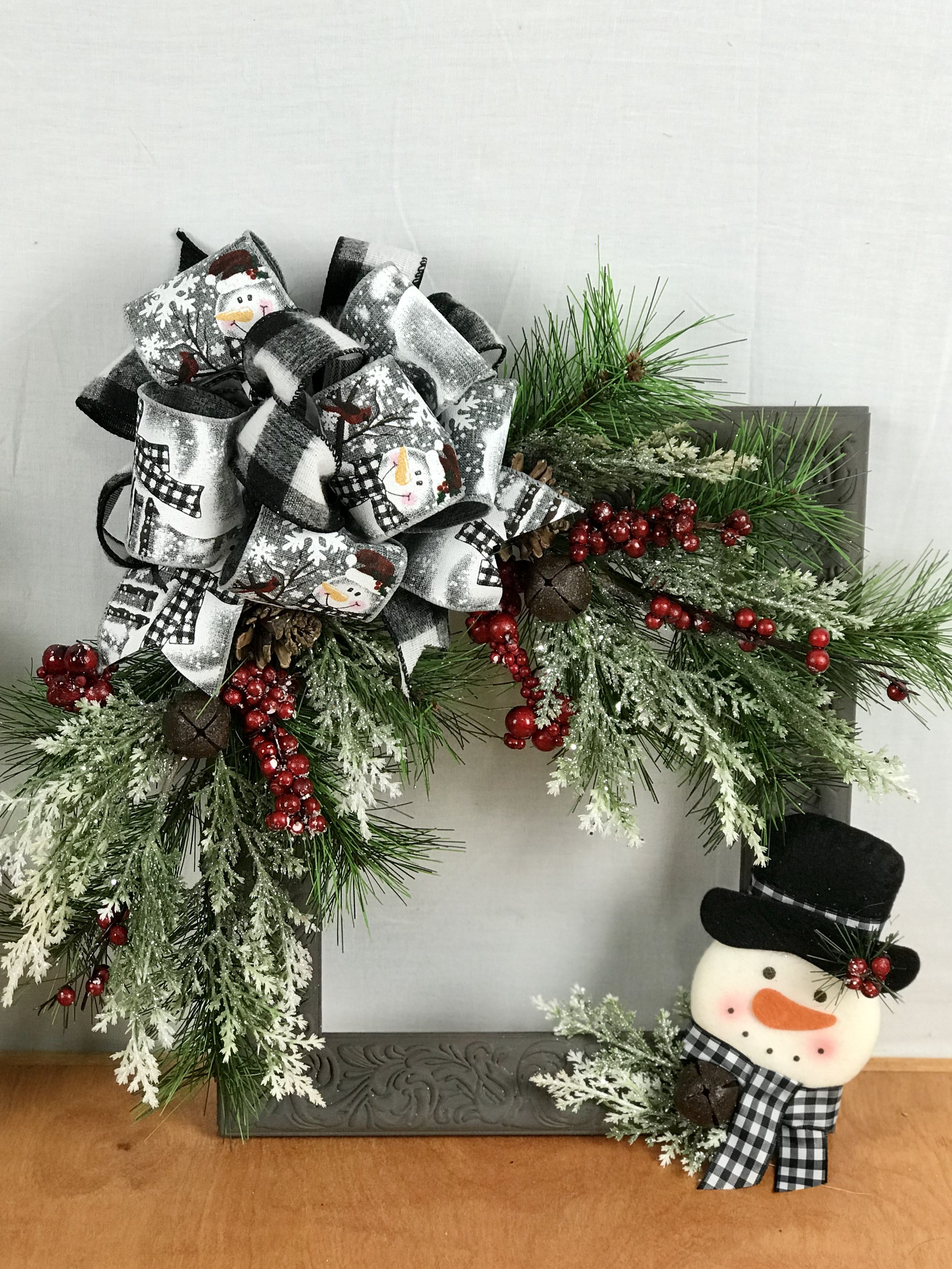 Snowman Picture Frame Wreath Picture Frame Wreath Frame Wreath Christmas Frames