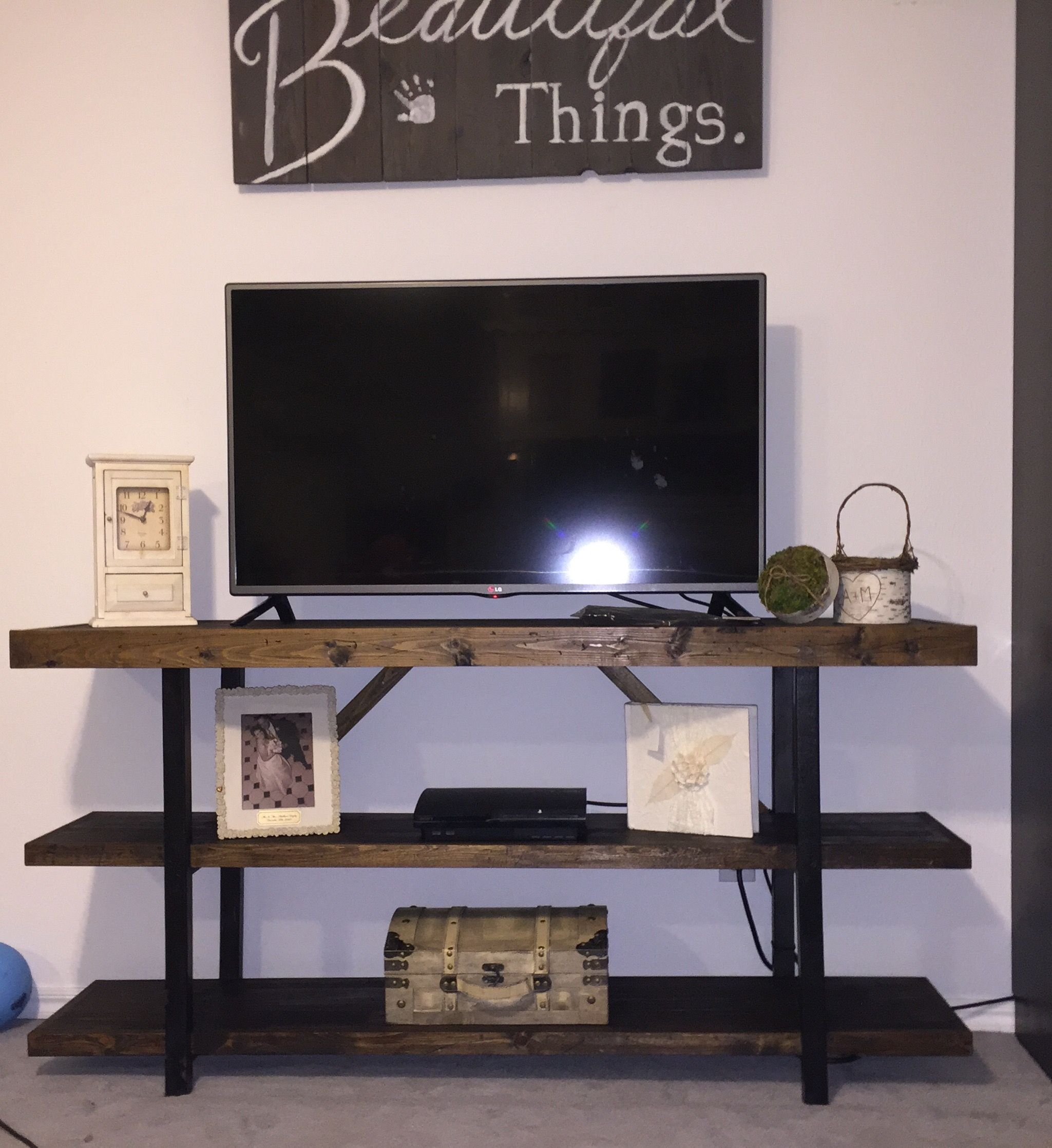 Pottery Barn Griffin TV console knock off I had crap 2x2s which