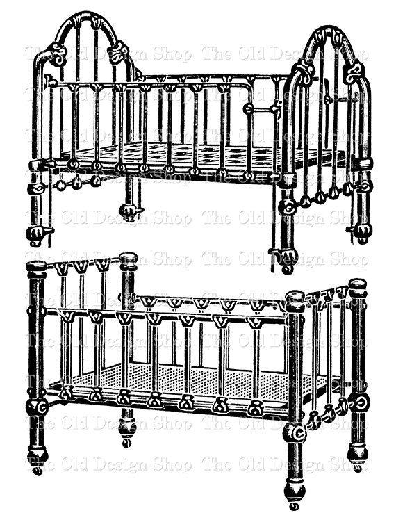 Vintage Baby Crib Commercial Use Clip Art Illustration Digital Etsy Clip Art Vintage Vintage Baby Cribs Illustration Art