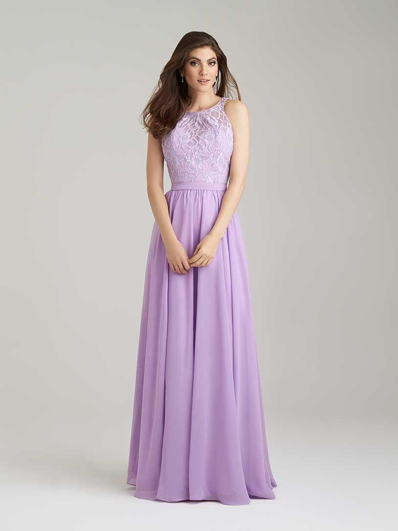 Lilac Chiffon O Neck Floor Length A Line Bridesmaid Dress B1ae0035 ...