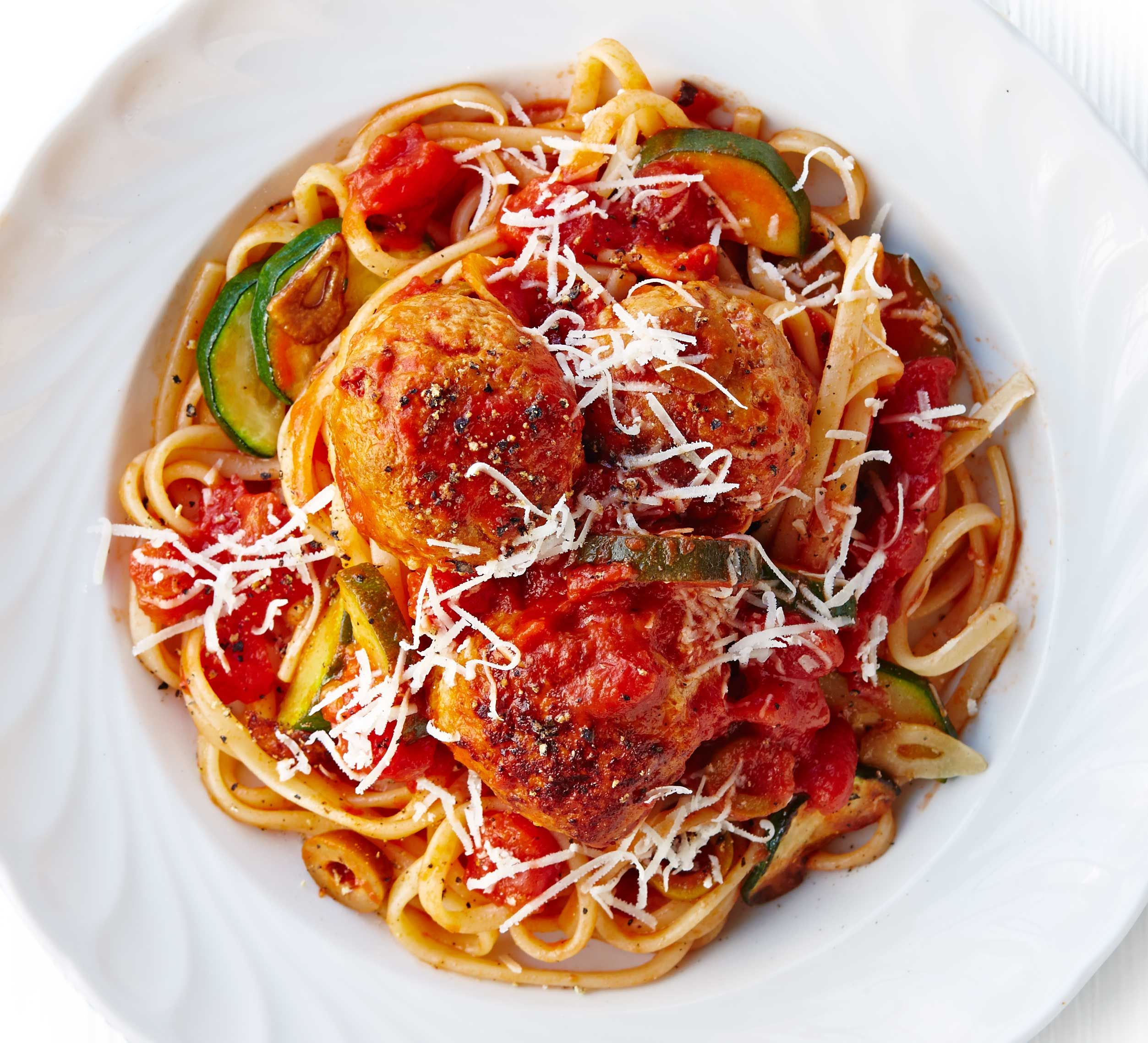 Turkey meatballs in olive & courgette sauce | Recipe ...