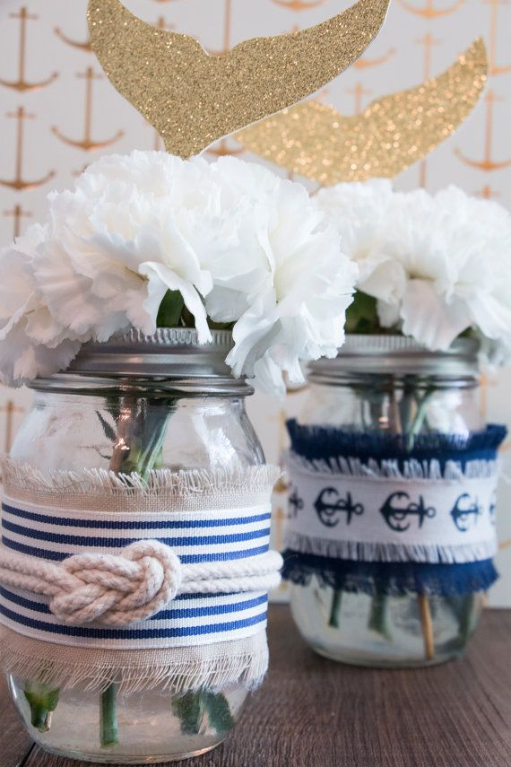Nautical Themed Mason Jar Decor For 6 Jars Nautical Themed Centerpiece Kit Diy Nautical Themed Mason Jar Cent Mason Jar Decorations Decorated Jars Mason Jars