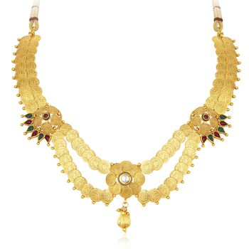 Beguiling laxmiji coin temple jewellery gold plated necklace set for women